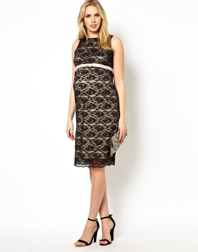 ASOS Maternity Exclusive Lace Bodycon Dress With Ribbon Detail