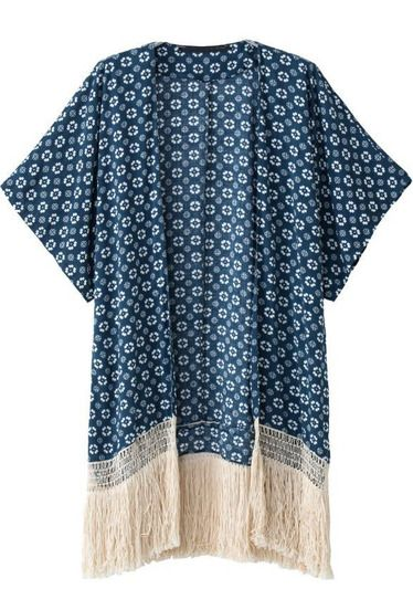Navy Tassel Kimono